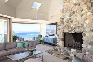Family Room with Views and Stone Fireplace