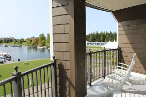 Private Balcony with Lake and Marina View